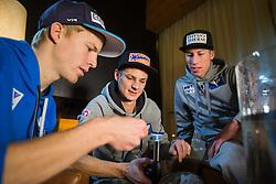 30.12.2014, for Friends, Mösern, AUT, FIS Ski Sprung Weltcup, 63. Vierschanzentournee, OeSV Bleigiessen, im Bild v.l.: Michael Hayböck (AUT), Manuel Fettner (AUT) und Thomas Diethart (AUT) // f.l.: Michael Hayböck of Austria, Manuel Fettner of Austria and Thomas Diethart of Austria during Happy New Year lead Pouring of Austrian Team of the 63rd Four Hills Tournament of FIS Ski Jumping World Cup at the for Friends Hotel, Mösern, Austria on 2014/12/30. EXPA Pictures © 2014, PhotoCredit: EXPA/ JFK