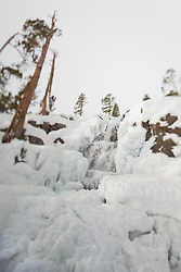 """""""Icy Eagle Falls 2"""" - Photograph of frozen Eagle Falls above Emerald Bay, Lake Tahoe in the winter. The focus effect was achieved using a tilt-shift lens."""