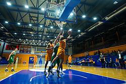 Blaz Mahkovic KK Helios Suns and John Florveus KK Helios Suns during 9. round of Slovenian national championship between teams Helios Suns and Zlatorog Lasko in Sport Hall Domzale on 30. November 2019, Domzale, Slovenija. Grega Valancic / Sportida