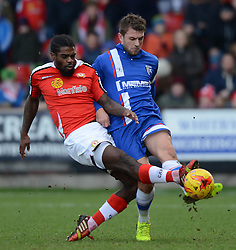 Crewe Alexandra's Anthony Grant competes with Gillingham's Doug Loft  - Photo mandatory by-line: Richard Martin-Roberts - Mobile: 07966 386802 - 10/01/2015 - SPORT - Football - Crewe - Alexandra Stadium - Crewe Alexandra v Gillingham - Sky Bet League One