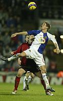 Photo: Aidan Ellis.<br /> Blackburn Rovers v Bayer Leverkusen. UEFA Cup, 2nd Leg. 22/02/2007.<br /> Rovers Morten Gamst Pedersen keeps a close eye on the ball