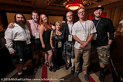 Harry Verkuil of Scotland with his family and support crew at the kickoff banquet before the Motorcycle Cannonball Race of the Century Run. Atlantic City, NJ, USA. September 9, 2016. Photography ©2016 Michael Lichter.