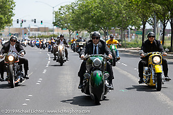 Cory Ness rode his father Arlen's 1993 art deco Smoothness full-bodied custom Harley-Davidson with his sons Max (left, on Arlen's 1993 race inspired Team Ness) and Zach (right on Arlen's 1995 Ness-Stalgia Chevy Bike) for the Arlen Ness Memorial - Celebration of Life ride from the CrossWinds Church in Livermore to the Arlen Ness Motorcycle store in Dublin, CA, USA. Saturday, April 27, 2019. Photography ©2019 Michael Lichter.