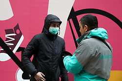 © Licensed to London News Pictures. 15/03/2020. London, UK. A Deliveroo driver wearing a protective face mask amid an increased number of Coronavirus (COVID-19) cases in the UK. 21 coronavirus victims have died and 820 cases have tested positive for the virus in the UK. 167 people across London have tested positive for the virus. Photo credit: Dinendra Haria/LNP
