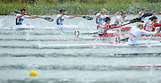 Eton Dorney, Windsor, Great Britain,..Start of the Women's Four [K4] Lane One top of the picture GBR Jess WALKER, Rachel CAWTHORN, Angela HANNAN and Louisa SAYERS at the start of the 500Meter, A Final..2012 London Olympic Canoe and Kayak Sprints Races. Regatta, Dorney Lake. Eton Dorney, Dorney Lakes. Berkshire.  Dorney Lake.  ... ..10:45:08  Wednesday  08/08/2012 [Mandatory Credit: Peter Spurrier/Intersport Images]