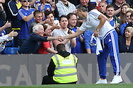 John Terry, the Chelsea captain shaking hands with fans during a walk around the pitch after full time. Barclays Premier league match, Chelsea v Leicester city at Stamford Bridge in London on Sunday 15th May 2016.<br /> pic by John Patrick Fletcher, Andrew Orchard sports photography.