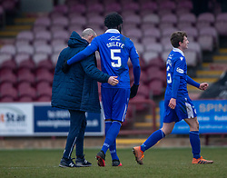 06MAR21 Queen of the South's Manager Allan Johnston and scorer Ayo Obileyeat the end. Arbroath 2 v 4 Queen of the South, Scottish Championship played 6/3/2021 at Arbroath's home ground, Gayfield Park.