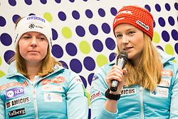 Marusa Ferk and Ana Drev at press conference of Slovenian Alpine Ski Team before World Cup in St. Moritz, on January 31 2017, in Ljubljana, Slovenia. Photo by Urban Urbanc / Sportida