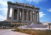 Parthenon on the Acropolis, Athens. The great temple of Athena, the patron god of Athens, begun c445 BC, which housed the colossal lost statue of the goddess by Phidias.