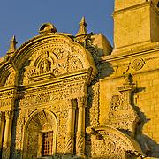"La Compania adjacent to the Plaza de Armas in lovely Arequipa, Peru, the ""White City""."