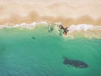 Aerial view of Victoria Beach in Laguna Beach, California, USA.
