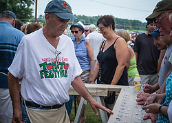 Annual Washington Boro Tomato Festival is held every year on the second and third Saturday of July. Tomato festivals are the best source for fresh tomatoes.  Tomato Festival is located at the Washington Boro Community Park, along the shore of the Susquehanna River in beautiful Lancaster County Pennsylvania AGRICULTURE STOCK PHOTO, LANCASTER, PA.