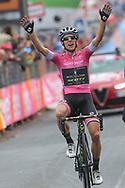 Arrival Simon Yates (GBR - Mitchelton - Scott) pink leader jersey celebration during the 101th Tour of Italy, Giro d'Italia 2018, stage 15, Tolmezzo - Sappada 178 km on May 20, 2018 in Italy - Photo Ilario Biondi / BettiniPhoto / ProSportsImages / DPPI
