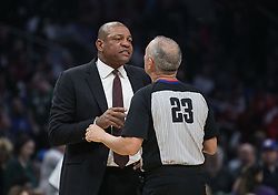 November 10, 2018 - Los Angeles, California, U.S - Coach, Doc Rivers of the Los Angeles Clippers talks to the referee during their NBA game with the Milwaukee Bucks on Saturday November 10, 2018 at the Staples Center in Los Angeles, California. Clippers defeat Bucks in OT, 128-126. (Credit Image: © Prensa Internacional via ZUMA Wire)