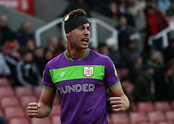 Bristol City's Adam Webster celebrates the goal after he was substituted during the Sky Bet Championship match at the bet365 Stadium