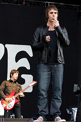 © licensed to London News Pictures . 30/06/2012 . Manchester , UK . Beady Eye , fronted by Liam Gallagher , perform on stage at Heaton Park . Liam Gallagher blows a kiss in to the crowd . The band are playing as warm up for the Stone Roses , who are on their comeback tour . Photo credit : Joel Goodman/LNP