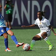 ORLANDO, FL - OCTOBER 25: Crystal Dunn #25 of USWNT challenges Tamires #6 of Brazil for the ball during a women's international friendly soccer match between Brazil and the United States at the Orlando Citrus Bowl on October 25, 2015 in Orlando, Florida. The United States won the match 3-1. (Photo by Alex Menendez/Getty Images) *** Local Caption *** Crystal Dunn; Tamires