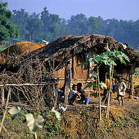 Asia, Nepal, Bardia. Traditional farm home in the Terai region of Bardia, Nepal.