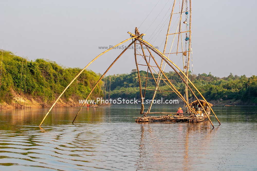Traditional fishing tool made from wood, bamboo and nets installed in swamps or rivers and used extensively in rural Thailand