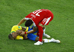 June 27, 2018 - Moscow, Russia - Group E Serbia v Brazil - FIFA World Cup Russia 2018.Neymar (Brazil) and Dusan Tadic (Serbia) after a tackle at Spartak Stadium in Moscow, Russia on June 27, 2018. (Credit Image: © Matteo Ciambelli/NurPhoto via ZUMA Press)
