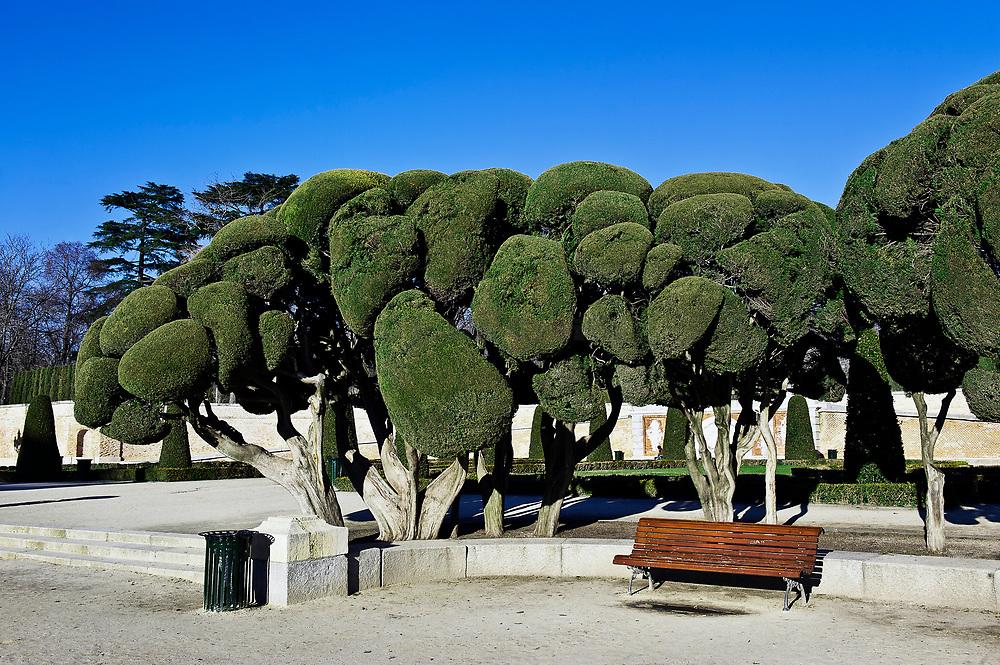 Sculpted trees, Retiro Park, Madrid, Spain