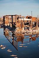 Ruin of house at Bombay Beach, Salton Sea, California