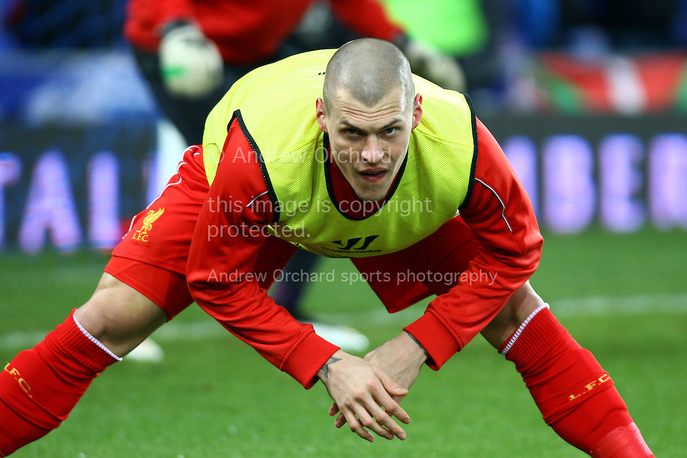 Martin Skrtel of Liverpool  warms up prior to kick off. Barclays Premier league match, Everton v Liverpool at Goodison Park in Liverpool, Merseyside on Saturday 7th February 2015<br /> pic by Chris Stading, Andrew Orchard sports photography.