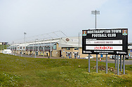 """'Sold out"""" signs at Sixfields stadium during the Sky Bet League 2 match between Northampton Town and Cambridge United at Sixfields Stadium, Northampton, England on 12 March 2016. Photo by Dennis Goodwin."""