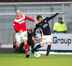Brechin City's Gerry McLauchlan and Falkirk's Rory Loy. <br /> Falkirk 2 v 1 Brechin City, Scottish Cup fifth round game played today at The Falkirk Stadium.