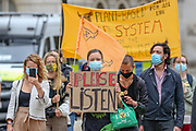 The climate and animal justice group, Animal Rebellion, presented an open letter to the UK Government on Tuesday, Sept 8, 2020. The letter, signed by a coalition of doctors, zoologists, NGOs, as well as climate and animal justice organisations, suggests that animal agriculture is a key driver in the emergence of deadly diseases and pandemics.<br /> Activists dressed in black-clad marched and held a funeral procession as part of the letter delivery outside Downing Street. (VXP Photo/ Vudi Xhymshiti)