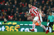 Geoff Cameron of Stoke City in action. Premier league match, Stoke City v Manchester City at the Bet365 Stadium in Stoke on Trent, Staffs on Monday12th March 2018.<br /> pic by Andrew Orchard, Andrew Orchard sports photography.