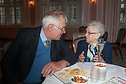 RICHARD INGRAMS; ELENA SALVONI;, The Oldie - 20th anniversary party. Simpson's-in-the-Strand, 100 Strand, London, WC2. 19 July 2012