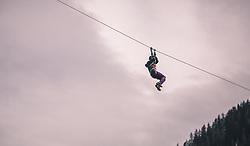 THEMENBILD - Flying Fox ist ein beliebtes Freizeitangebot im Hochseilgarten, aufgenommen am 13. Oktober 2019 in Saalbach Hinterglemm, Oesterreich // Flying Fox is a popular leisure activity in the high ropes course, in Saalbach Hinterglemm in Austria on 2019/10/13. EXPA Pictures © 2019, PhotoCredit: EXPA/Stefanie Oberhauser