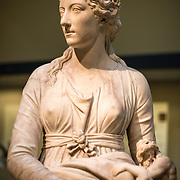 A marble bust of Mrs. Anne Seymour Damer (1748-1828) by Giuseppe Cerrachi (1751-1801) dated to around 1777. It on display in the British Museum. The British Museum in downtown London us dedicated to human history and culture and has about 8 million works in its permanent collection.