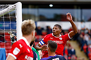 Barnsley defender Ethan Pinnock (5) heads over during the EFL Sky Bet League 1 match between Barnsley and Luton Town at Oakwell, Barnsley, England on 13 October 2018.