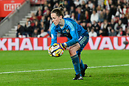 Laura O'Sullivan (1) of Wales during the FIFA Women's World Cup UEFA Qualifier match between England Ladies and Wales Women at the St Mary's Stadium, Southampton, England on 6 April 2018. Picture by Graham Hunt.