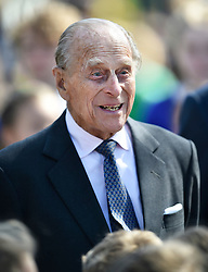 © Licensed to London News Pictures. 20/04/2016. PRINCE PHILIP, The Duke of Edinburgh arrives to officially open the new bandstand at Alexandra Gardens in Windsor on the eve Queen Elizabeth II's 90th birthday. Photo credit: Hannah McKay/LNP
