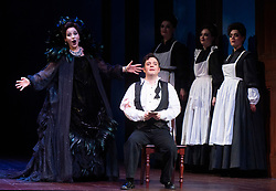 The Magic Flute <br /> Music by Mozart <br /> Welsh National Opera, Wales Millennium Centre, Cardiff, Wales, Great Britain <br /> 13th February 2019 <br /> Directed by Dominic Cooke <br /> <br /> Ben Johnson as Tamino<br /> Anna Siminska as Queen of the Night<br /> <br /> <br /> Photograph by Elliott Franks