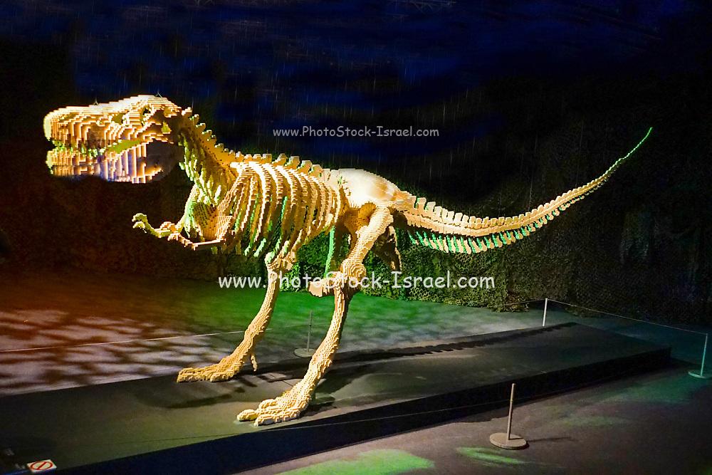 Dinosaur Statue from Lego building blocks at the Holon Children's museum. Holon, Israel