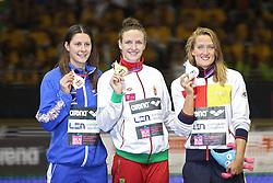 18.08.2014, Europa Sportpark, Berlin, GER, LEN, Schwimm EM 2014, 400m Lagen, Damen, Podium, im Bild Belmonte Garcia (Spanien), Katrinka Hosszu (Ungarn), Aimee Willmott (GBR) // during the women's podium after 400m Medley final round of the LEN 2014 European Swimming Championships at the Europa Sportpark in Berlin, Germany on 2014/08/18. EXPA Pictures © 2014, PhotoCredit: EXPA/ Eibner-Pressefoto/ Lau<br /> <br /> *****ATTENTION - OUT of GER*****