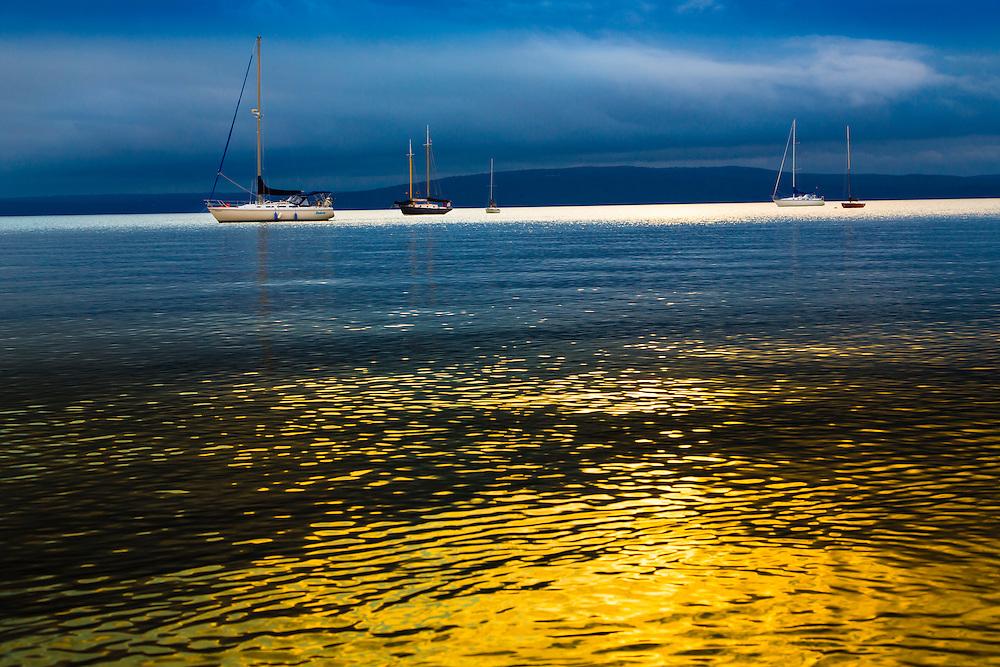 Sailboats on Lake Superior near Madeline Island, Apostle Island, Wisconsin.