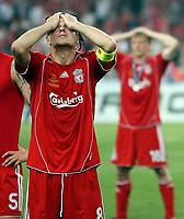 Photo: Paul Thomas.<br /> AC Milan v Liverpool. UEFA Champions League Final. 23/05/2007.<br /> <br /> Dejected Steven Gerrard of Liverpool.
