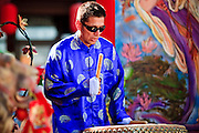 "14 FEBRUARY 2010 - PHOENIX, AZ: A drummer performs at the Chinese New Year celebration in Phoenix, AZ. This marks the Chinese ""Year of the Tiger."" The Chinese New Year Celebration at the COFCO Chinese Cultural Center in Phoenix attracted thousands of people. The celebration featured traditional Chinese entertainment and food.  PHOTO BY JACK KURTZ"