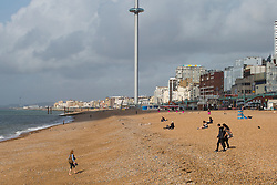 © Hugo Michiels Photography 07/09/2017. Brighton, UK. Few members of the public brave the dark clouds and colder weather to spend time on the beach in brighton and Hove. Photo credit: Hugo Michiels Photography