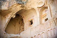 Early Christian rock cave churches in the tuff volcanic rock of Goreme, Cappadocia, Turkey .<br /> <br /> If you prefer to buy from our ALAMY PHOTO LIBRARY  Collection visit : https://www.alamy.com/portfolio/paul-williams-funkystock/cappadociaturkey.html (TIP refine search - type which part of Cappadocia into the LOWER search box)<br /> <br /> Visit our TURKEY PHOTO COLLECTIONS for more photos to download or buy as wall art prints https://funkystock.photoshelter.com/gallery-collection/3f-Pictures-of-Turkey-Turkey-Photos-Images-Fotos/C0000U.hJWkZxAbg