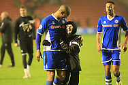 Calvin Andrew, Jack Northover celebrate during the Sky Bet League 1 match between Walsall and Rochdale at the Banks's Stadium, Walsall, England on 2 January 2016. Photo by Daniel Youngs.