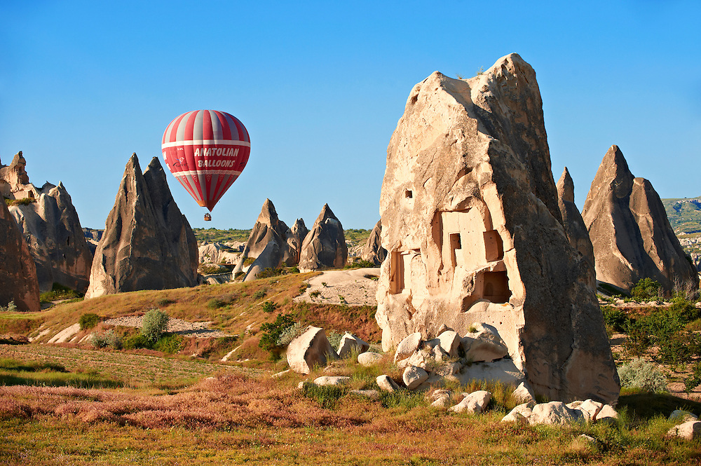 Fairy chimney tuff rock pillars formations of  Goreme, Cappadocia, Turkey .<br /> <br /> If you prefer to buy from our ALAMY PHOTO LIBRARY  Collection visit : https://www.alamy.com/portfolio/paul-williams-funkystock/cappadocia-balloons.html<br /> <br /> Visit our TURKEY PHOTO COLLECTIONS for more photos to download or buy as wall art prints https://funkystock.photoshelter.com/gallery-collection/3f-Pictures-of-Turkey-Turkey-Photos-Images-Fotos/C0000U.hJWkZxAbg