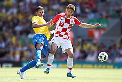 Brazil's Thiago Silva (left) and Croatia's Andrej Kramaric battle for the ball during the International Friendly match at Anfield, Liverpool.