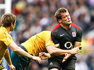 Mark Cueto of England is tackled by Rocky Elsom during the Investec series international between England and Australia at Twickenham, London, on Saturday 13th November 2010. (Photo by Andrew Tobin/SLIK images)
