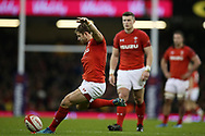 Leigh Halfpenny of Wales kicks a penalty. Wales v Scotland, NatWest 6 nations 2018 championship match at the Principality Stadium in Cardiff , South Wales on Saturday 3rd February 2018.<br /> pic by Andrew Orchard, Andrew Orchard sports photography